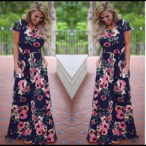 Vintage floral boho beach summer maxi vestido
